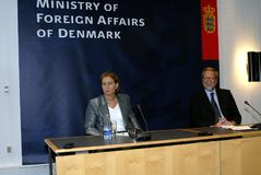 Tzipi Livni & Per Stig Moeller Zdjęcia Stock