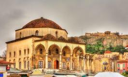 Tzistarakis Mosque and Acropolis of Athens Stock Photo