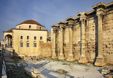Tzistarakis Mosque and Library of Hadrian in Athens. Greece Royalty Free Stock Images