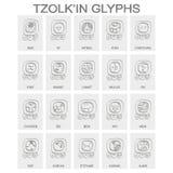 Tzolk 'en calendario nombró días y glyphs asociados libre illustration