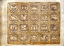 Tzolk`in Calendar. Maya Calendar: the 20-day Month, Symbols and Day Names Royalty Free Stock Photos