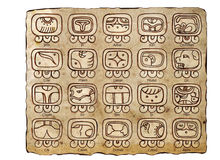 Tzolk`in Calendar (Maya Calendar). Maya Calendar: the 20-day Month, Symbols and Day Names. White background Royalty Free Stock Photos