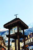 Tzoumaz village and wooden clock royalty free stock photography