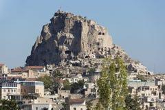 Uçhisar slott, Turkiet, Cappadocia Arkivbilder