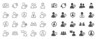 Użytkownik linii ikony Profil, grupa i poparcie, wektor royalty ilustracja
