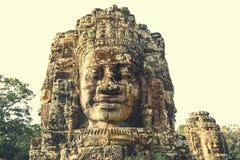 Uśmiechać się twarze Bayon świątynia w Angkor Thom obraz stock