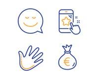 Uśmiecha się, Wręcza i Gra główna rolę, ratingowe ikony ustawiać Pieniądze torby znak Gadki emocja, zamach, telefon informacje zw royalty ilustracja