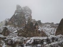 Uçhisar城堡/房东的城堡在卡帕多细亚 免版税图库摄影