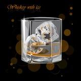 Uísque com gelo Ilustração do vetor de um vidro do uísque imagens de stock royalty free