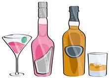 Uísque e cocktail Ilustração do Vetor
