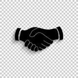 Uścisk dłoni - czarna wektorowa ikona ilustracji