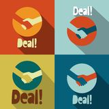 Uścisk dłoni Dylowe ikony - Retro Płaski projekta symbol ilustracja wektor