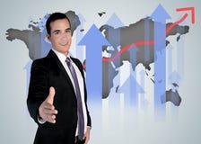 Uścisk dłoni i światowa mapa zdjęcia royalty free