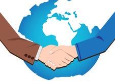 Uścisk dłoni ikona biznesmeni na całym świecie ilustracji