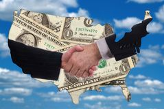 uścisk dłoni mapy zarys amerykańskich pieniędzy Zdjęcie Stock