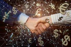 Uścisk dłoni na tle charakteru pieniądze Fotografia Stock