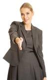 uścisk dłoni przygotowywający kobieta Zdjęcia Stock
