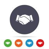 Uścisk dłoni szyldowa ikona Pomyślny biznesowy symbol ilustracja wektor