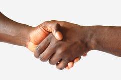 uścisk dłoni z black Fotografia Royalty Free