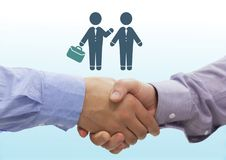 Uścisk dłoni z ludźmi biznesu spotyka ikonę Zdjęcia Royalty Free