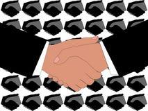 Uścisk dłoni z stylizowanym tłem ilustracji