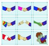 Uściski dłoni z różnymi przedstawicielami ludzkość Zdjęcia Royalty Free