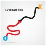 Uścisku dłoni abstrakta znaka projekta wektorowy szablon ilustracji