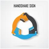 Uścisku dłoni abstrakta znaka projekta wektorowy szablon Obrazy Royalty Free