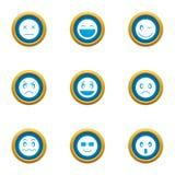 Uśmiech ikony ustawiać, mieszkanie styl ilustracja wektor