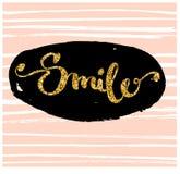 uśmiech Kaligraficzna literowanie ręka rysująca Zdjęcia Royalty Free