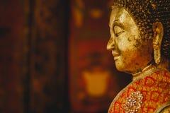 Uśmiech złoty Buddha dalej beside, twarz złocisty Buddha, reputability i pokojowy, Tajlandia, Azja, Obraz Royalty Free
