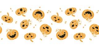 Uśmiechać się Halloweenowych bani horyzontalny bezszwowego royalty ilustracja
