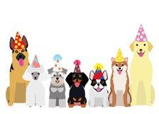 Uśmiechać się psy z partyjnym kapeluszem ilustracja wektor