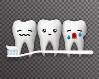 Uśmiecha się szczęśliwego płaczu ból cierpi emocja zębu pasta do zębów i toothbrush szablonu ślicznego realistycznego 3d przejrzy royalty ilustracja