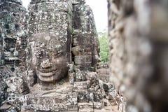 Uśmiecha się twarz w Angkor Thom, Siem Przeprowadza żniwa, Kambodża Obrazy Royalty Free