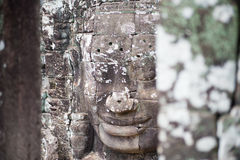Uśmiecha się twarz w Angkor Thom, Siem Przeprowadza żniwa, Kambodża Zdjęcie Stock