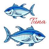 Uśmiechnięci kreskówki bluefin tuńczyki dla łowić projekt ilustracji