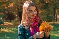 Uśmiechnięci młodej dziewczyny mienia jesieni liście w jego spojrzeniach przy one i ręce Obraz Royalty Free