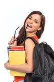 Uśmiechnięci młodzi studenccy zjadliwi szkła obraz stock