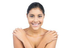 Uśmiechnięci nadzy brunetki mienia ramiona Fotografia Royalty Free