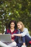 Uśmiechnięci ucznie używa laptop zdjęcia stock