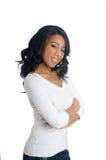 uśmiechnięta Amerykanin afrykańskiego pochodzenia kobieta Zdjęcia Royalty Free