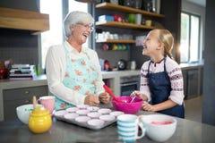Uśmiechnięta babcia i wnuczka patrzeje each inny zdjęcia royalty free