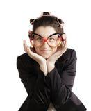 Uśmiechnięta biznesowa kobieta. Odizolowywający nad bielem obraz stock
