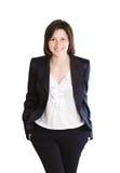 Uśmiechnięta biznesowa kobieta. Odizolowywający nad bielem zdjęcie royalty free