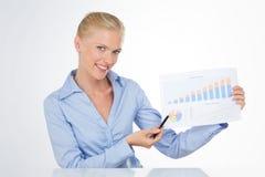 Uśmiechnięta blond biznesowa kobieta wskazuje mapę z piórem Zdjęcie Royalty Free