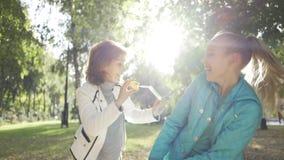 Uśmiechnięta brunetka dmuchająca bańki mydlane do nastoletniej wnuczki w słonecznym jesiennym parku Szczęśliwe wydatki rodzinne zdjęcie wideo