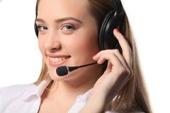 Uśmiechnięta centrum telefoniczne młoda kobieta przygotowywająca dla poparcia i kontaktu Obrazy Stock