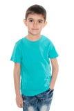 Uśmiechnięta chłopiec w błękitnej koszula zdjęcie stock