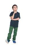 Uśmiechnięta chłopiec w pasiastej koszula patrzeje up obrazy stock